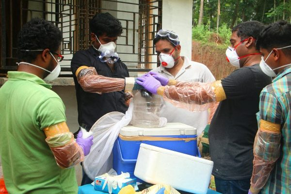 Officials deposit a bat into a container after catching it inside a well