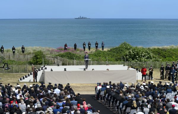 Prime Minister Justin Trudeau delivers a speech as he takes part in the D-Day 75th Anniversary Canadian National Commemorative Ceremony at Juno Beach in Courseulles-Sur-Mer, France on June 6, 2019. (Sean Kilpatrick/The Canadian Press)