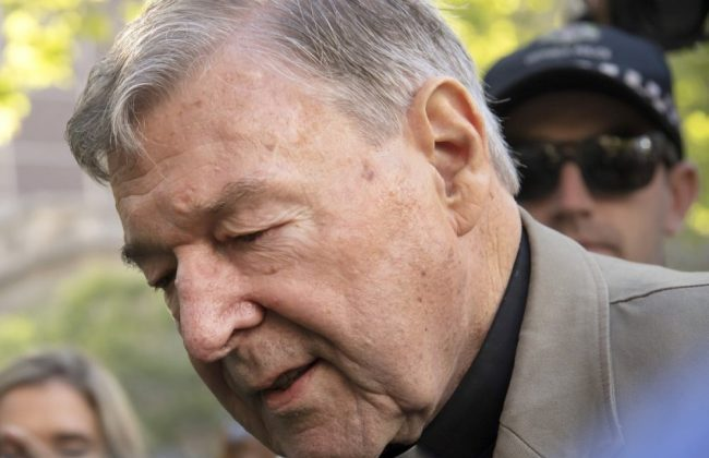 Cardinal George Pell arrives at the County Court in Melbourne, Australia, on Feb. 27, 2019. (AP Photo/Andy Brownbill)