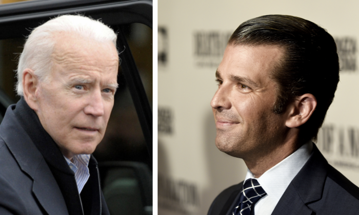 (L) Former U.S. Vice President Joe Biden in Dorchester, Mass., on April 18, 2019. (Joseph Prezioso/AFP/Getty Images); (R) Donald Trump, Jr. in Washington on Aug. 1, 2018. (Shannon Finney/Getty Images)