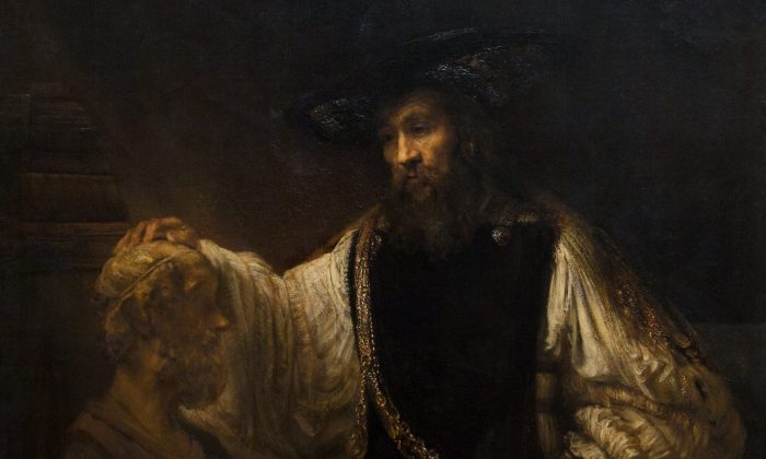 "A close-up of ""Aristotle with a Bust of Homer,"" 1653, by Rembrandt van Rijn. Oil on canvas, 56 1/2 inches by 53 3/4 inches. Purchase, special contributions and funds given or bequeathed by friends of the Museum, 1961. (The Metropolitan Museum of Art, New York)"