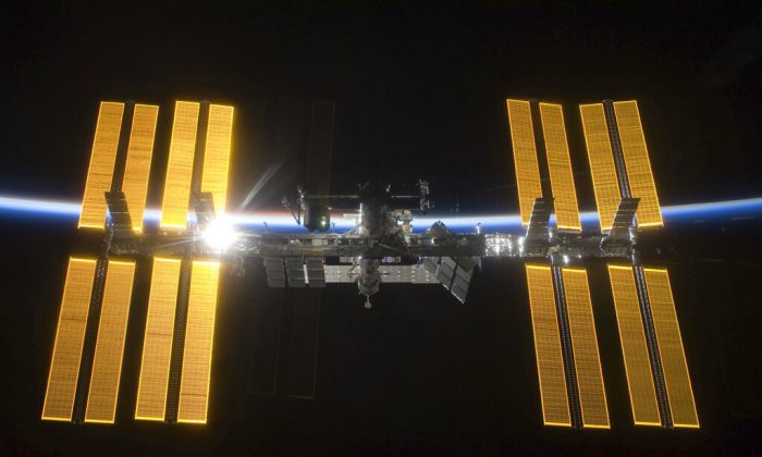 The International Space Station seen from the Space Shuttle Discovery during separation, on March 25, 2009. (NASA via AP)