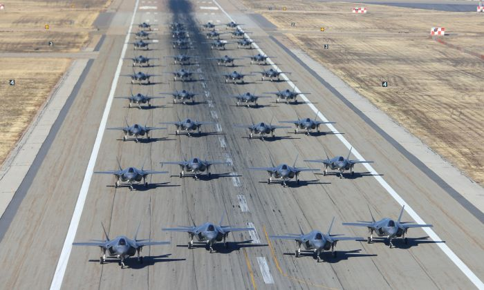36 F-35As on the runway to prepare for take-off on November 19, 2018 in Hill Air Force Base, Utah. (George Frey/Getty Images)