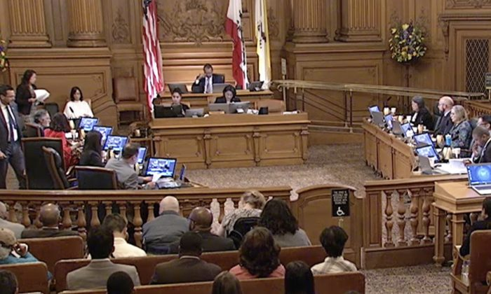 San Francisco Board of Supervisors meeting on June 4, 2019 (Cynthia Cai/The Epoch TImes)