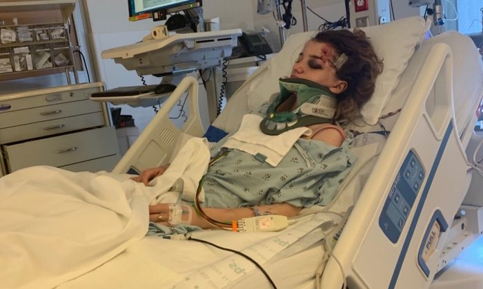 18-year-old Karmen Curley in intensive care. (Sian Curley/GoFundMe)