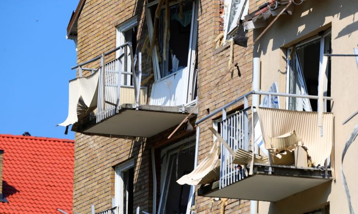 Damaged balconies and windows are seen at the site of an explosion in Linkoping, Sweden on June 7, 2019. (Jeppe Gustafsson/TT News Agency/via Reuters)