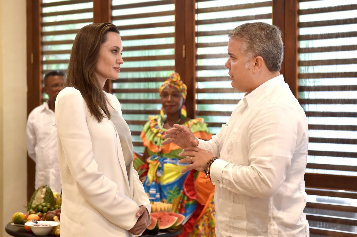 U.N. Refugee Agency's special envoy Angelina Jolie speaks with Colombia's President Ivan Duque Marquez, in Cartagena