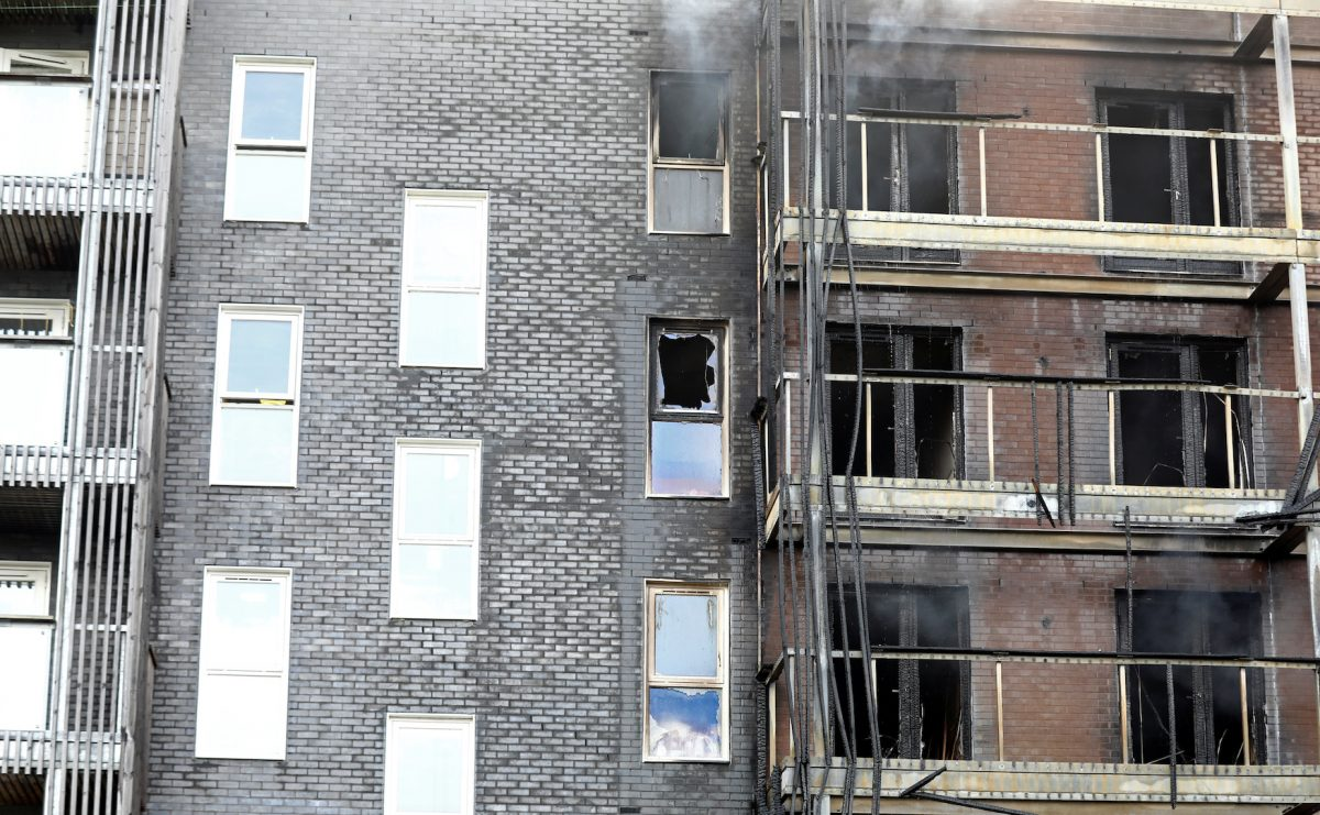 A building is seen after a fire broke out in Barking