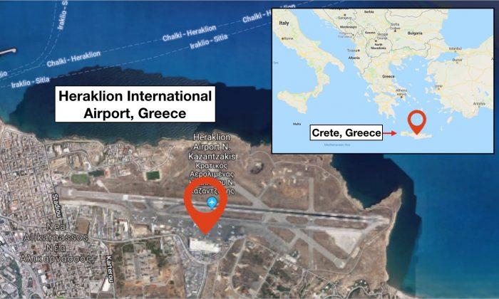 "Satellite image showing Heraklion International Airport ""Nikos Kazantzakis,"" which is the main airport on the island of Crete, Greece. (Screenshot/Google Maps)"