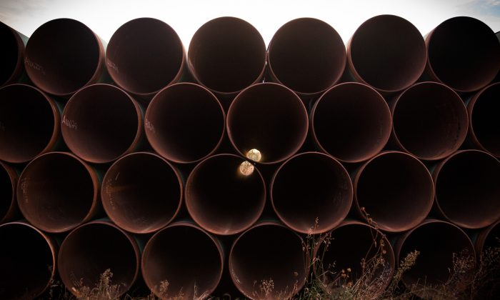 Miles of unused pipe, prepared for the proposed Keystone XL pipeline, sit in a lot outside Gascoyne, N.D., on Oct. 14, 2014. (Andrew Burton/Getty) Images