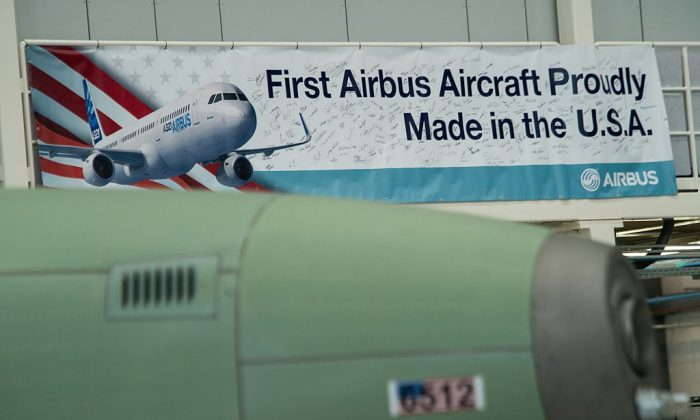 A sign is seen during the inauguration of Airbus' first US manufacturing facility in Mobile, Alabama, on September 14, 2015. (NICHOLAS KAMM/AFP/Getty Images)