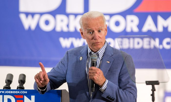 Former Vice President and Democratic presidential candidate Joe Biden holds a campaign event at the IBEW Local 490 on June 4, 2019 in Concord, New Hampshire.  Scott Eisen/Getty Images