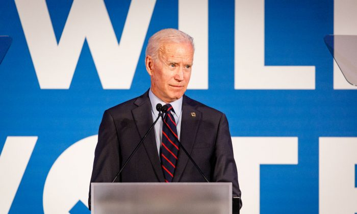 Former vice president and 2020 Democratic presidential candidate Joe Biden speaks to a crowd at a Democratic National Committee event at Flourish in Atlanta on June 6, 2019. (Dustin Chambers/Getty Images)
