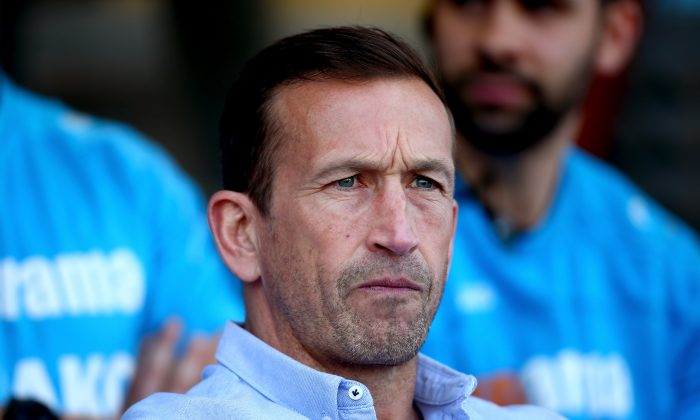 Manager of Leyton Orient Justin Edinburgh looks on ahead of the Vanarama National League match between Leyton Orient and Harrogate Town at Brisbane Road in London on April 19, 2019. (Jordan Mansfield/Getty Images)