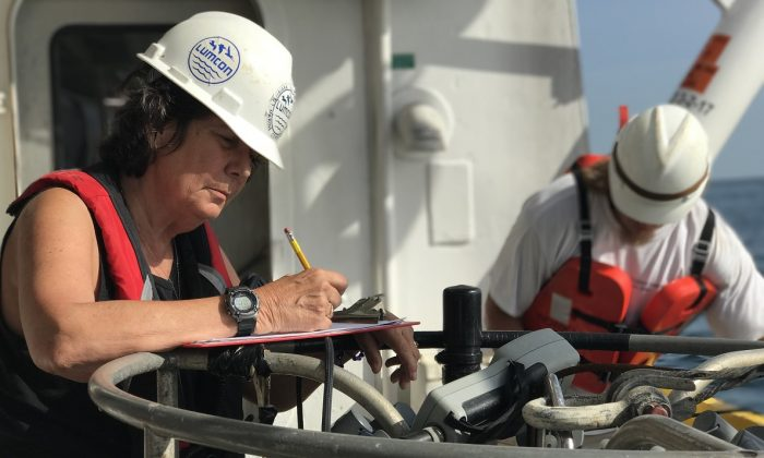 Nancy Rabalais on the July 2017 Gulf of Mexico dead zone research cruise, on June 9.2019. (Nancy Rabalais/LSU/Lumcon)