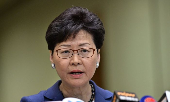 Chief Executive Carrie Lam holds a press conference in Hong Kong on June 10, 2019. (Anthony Wallace/AFP/Getty Images)