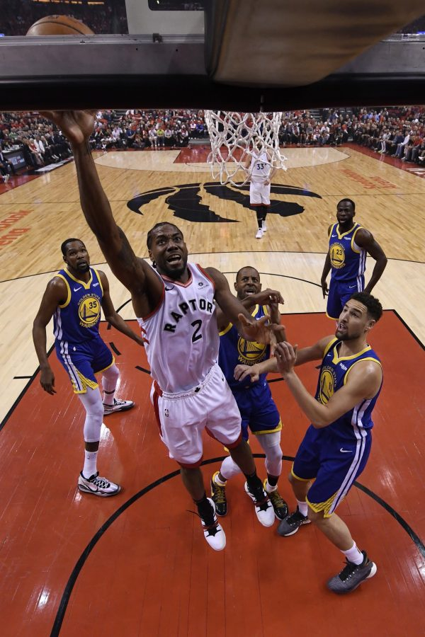 Toronto Raptors forward Kawhi Leonard (2) scores during Game 5 of the NBA Finals in Toronto on Monday, June 10, 2019. (Kyle Terada/The Canadian Press)