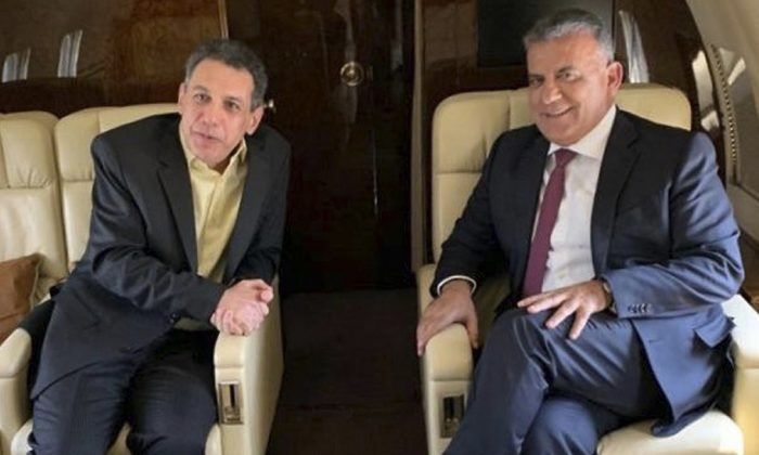 Maj. Gen. Abbas Ibrahim, right, chief of Lebanese General Security Directorate, and Nizar Zakka, left, a Lebanese citizen and permanent U.S. resident who was released in Tehran after nearly four yeas in jail, aboard the flight from Iran to Lebanon, on June 11, 2019. (The official twitter page of the Lebanese General Security Directorate via AP)