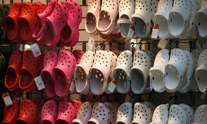 Crocs footwear is displayed in one of the company's retail stores in Chicago, Illinois, U.S. on July 23, 2009. (Scott Olson/Getty Images)