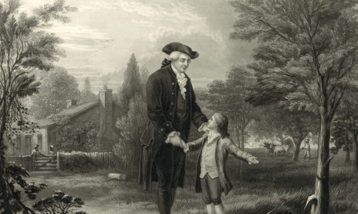 George Washington confesses to his father, Augustine Washington, in an illustration from an engraving, circa 1846. (Everett Historical/Shutterstock)