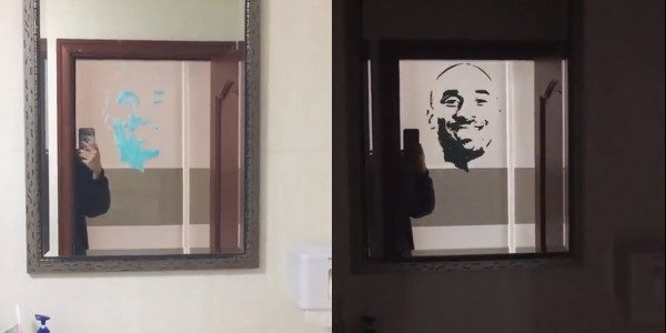 Toothpaste mirror portrait