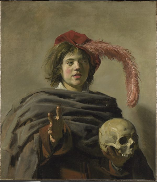 Young boy and skull