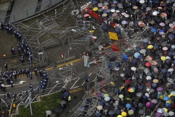 Protesters gather outside the Legislative Council in Hong Kong,