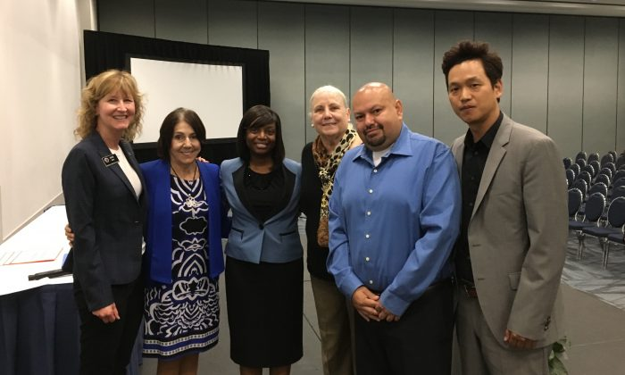 (L to R) Mari Barke, Orange County Board of Education, Area 2; Lucille Kring, Anaheim Mayor Pro Tem, District 4; Dr. Angela L. Miller, Director of Curriculum and Instruction; Cheryl Ball, Board President; Geronimo Gaytan, Board Member and parent; Roy Kim, Interim Chief Operating Officer, in Anaheim, Calif., on June 7, 2019. (Ian Henderson/The Epoch Times)