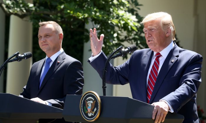 President Donald Trump and the President of Poland Andrzej Duda speak to the media during a news conference in the Rose Garden at the White House in Washington on June 12, 2019. (Mark Wilson/Getty Images)