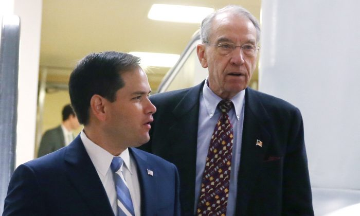 Sen. Marco Rubio (R-FL) (L) and Sen. Chuck Grassley (R-IA) leave the Senate Chamber at the Capitol in Washington on Dec. 12, 2013. (Mark Wilson/Getty Images)