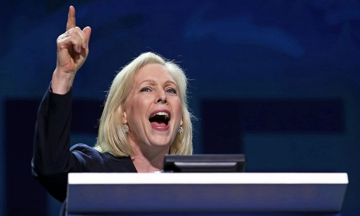 Sen. Kirsten Gillibrand (D-N.Y.) at the California Democrats 2019 State Convention at the Moscone Center in San Francisco, Calif., on June 1, 2019. (Justin Sullivan/Getty Images)