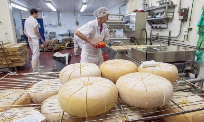 Workers package artisanal cheeses at the production facility of Fromagerie Fritz Kaiser in Noyan, Quebec, on October 11, 2018. Dairy is one industry heavily protected from competition through supply management in Canada. (The Canadian Press/Ryan Remiorz)