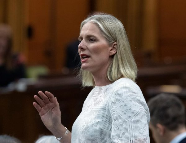 Environment Minister Catherine McKenna rises during Question Period in the House of Commons on Parliament Hill in Ottawa on June 13, 2019. (Fred Chartrand/The Canadian Press)