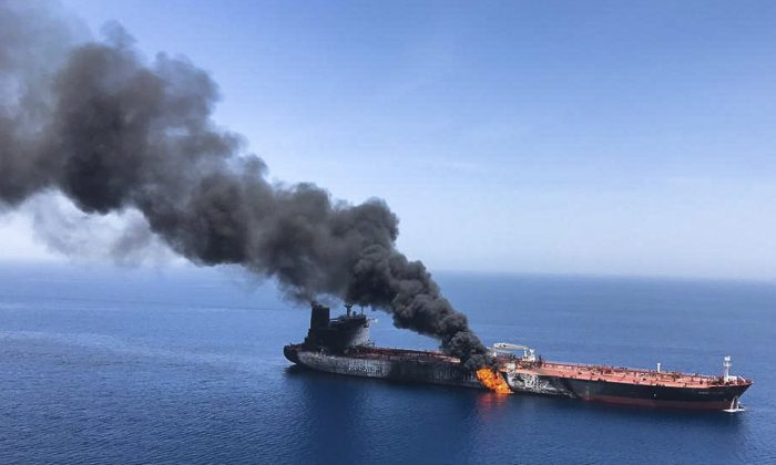 An oil tanker is on fire in the sea of Oman on June 13, 2019. (ISNA/Photo via AP)