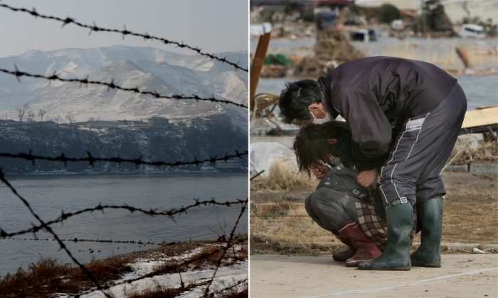 (L) A barb wire fence in Northeastern China. (Mark Ralston/AFP/Getty Images) -- (R) A man comforting a woman. (Jiji Press/AFP/Getty Images)
