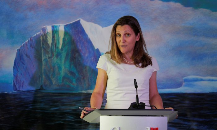 Canada's Foreign Minister Chrystia Freeland speaks during a news conference at the Canadian Embassy in Washington D.C. on June 13, 2019. (Carlos Barria/Reuters)