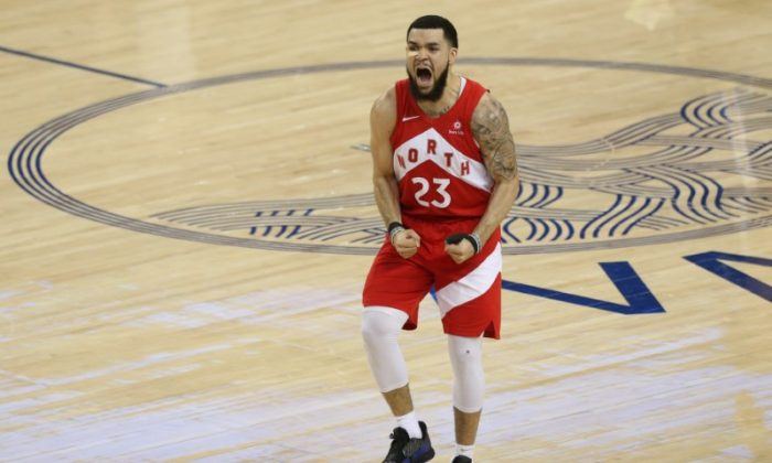 Toronto Raptors guard Fred VanVleet (23) reacts during the second half in game six of the 2019 NBA Finals against the Golden State Warriors at Oracle Arena. (Reuters/Cary Edmondson-USA TODAY Sports)
