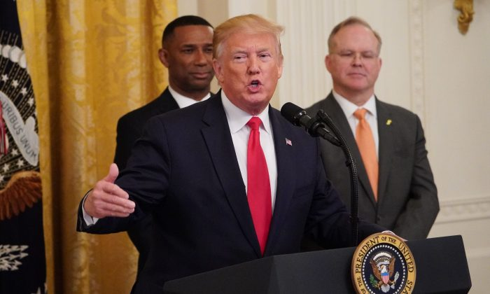 President Donald Trump speaks about second chance hiring and criminal justice reform in the East Room of the White House on June 13, 2019. (Mandel Ngan/AFP/Getty Images)