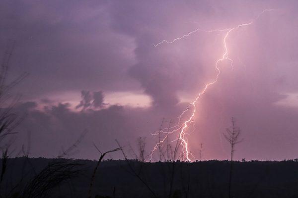 A lightning strikes over Bago Mountains in Bago Region,