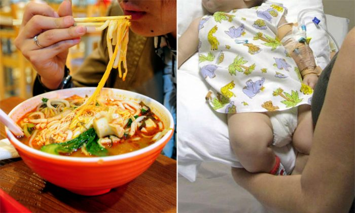 (L) A woman eating noodle soup. (Frederic J. Brown/AFP/Getty Images) -- (R) A baby suffering from burns. (Sebastian Caceres/AFP/Getty Images)