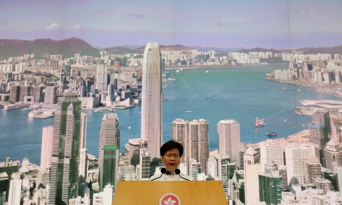 Hong Kong Chief Executive Carrie Lam speaks at a news conference in Hong Kong, China, on June 15, 2019. (Athit Perawongmetha/Reuters)