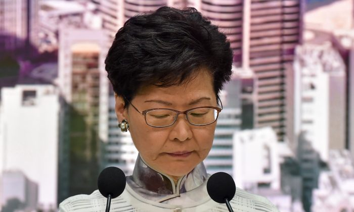 Hong Kong Chief Executive Carrie Lam during a press conference at the government headquarters in Hong Kong on June 15, 2019. (Hector Retamal/AFP/Getty Images)