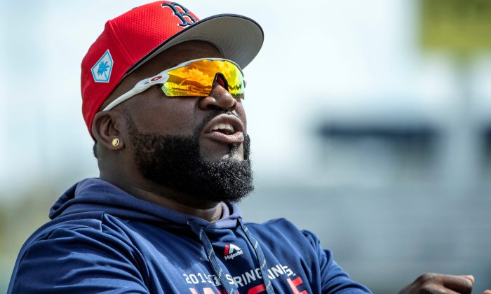 Boston Red Sox former player David Ortiz walks on the field prior to the game between the Boston Red Sox and the Minnesota Twins at JetBlue Park in Fort Myers, Florida, on on March 3, 2019. (Douglas DeFelice-USA TODAY Sports)