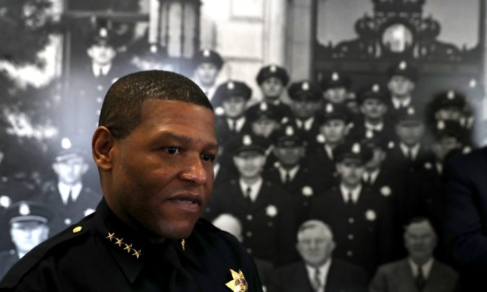 San Francisco Police Chief William Scott at a news conference at the San Francisco Police Academy in San Francisco, Calif., on May 15, 2018.  (Justin Sullivan/Getty Images)