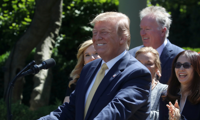 President Donald Trump arrives to speak about expanding healthcare coverage for small businesses in the Rose Garden of the White House on June 14, 2019 in Washington. (Mark Wilson/Getty Images)