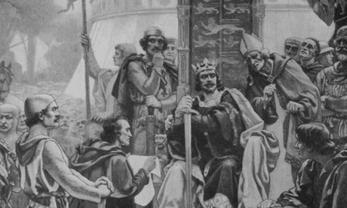 """King John Granting the Magna Carta"" from the fresco in the Royal Exchange. (Public domain)"