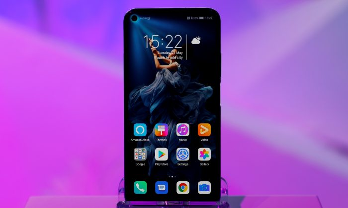 Huawei's new Honor 20 smartphone at a product launch event in London on May 21, 2019. (Peter Nicholls/Reuters)