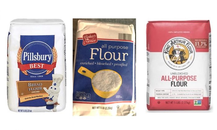 Pictures of several products of flour recalled from the market due to fear of E-Coli Contamination. (FDA.Gov)