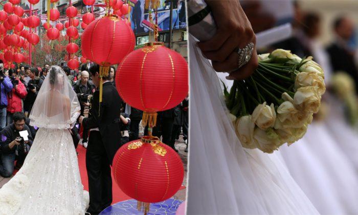 (L) A public wedding in Hong Kong. (Dale De La Rey/AFP/Getty Images) -- (R) A bride holding flowers. (Patrick Baz/AFP/Getty Images)