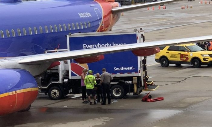A Southwest Airlines plane was hit by a truck at Pittsburgh International Airport on June 17, 2019. (Courtesy of Teresa Varley)